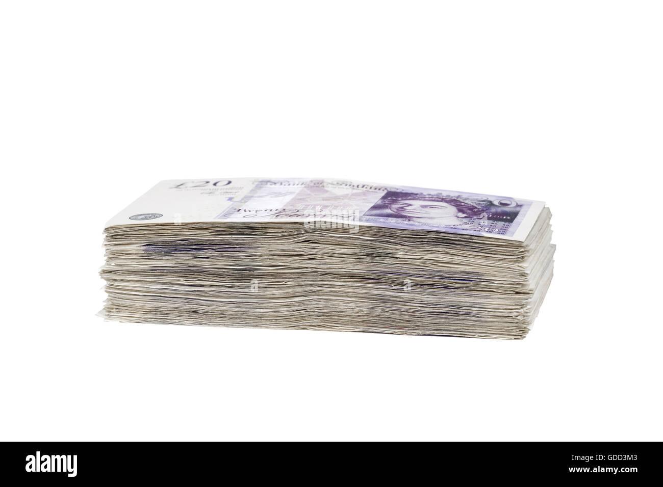 Haufen von britischen 20-Pfund-Banknoten Stockbild