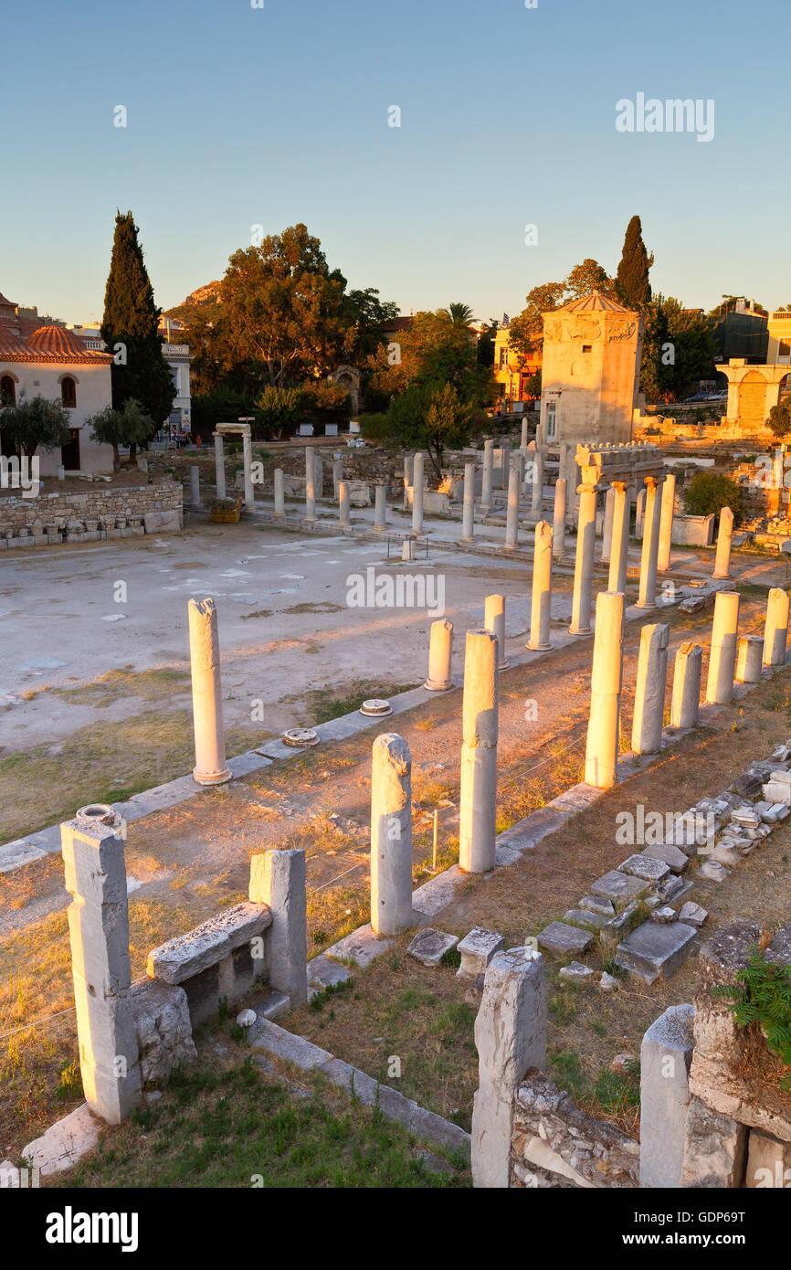 Überreste der römischen Agora und Turm der Winde in Athen. Stockbild