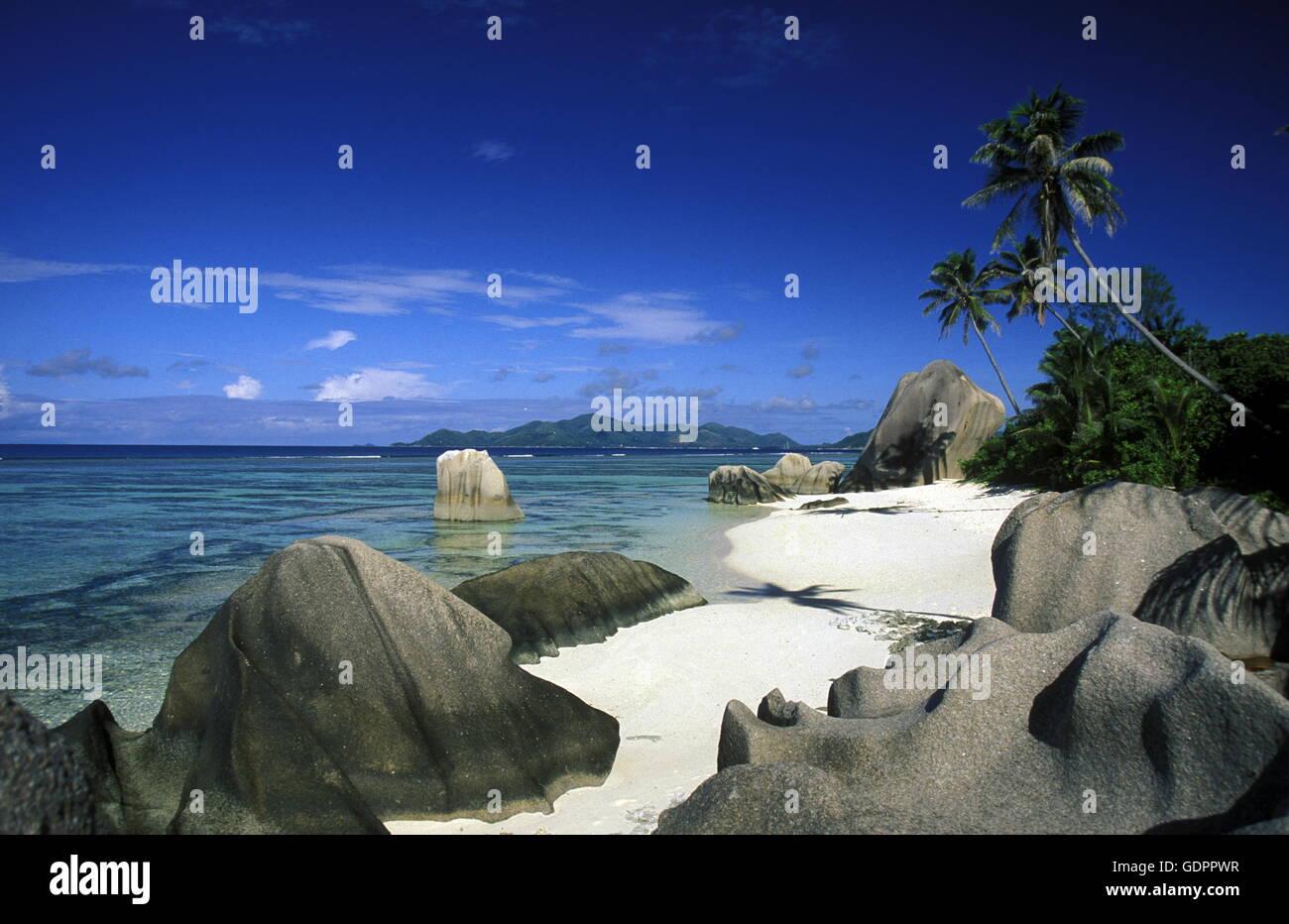 Afrika, Indischer Ozean, Seychellen, Insel, Strand, Reisen, Ferien, Meer, Strand, La Digue, Ein Traumstrand ein Stockbild