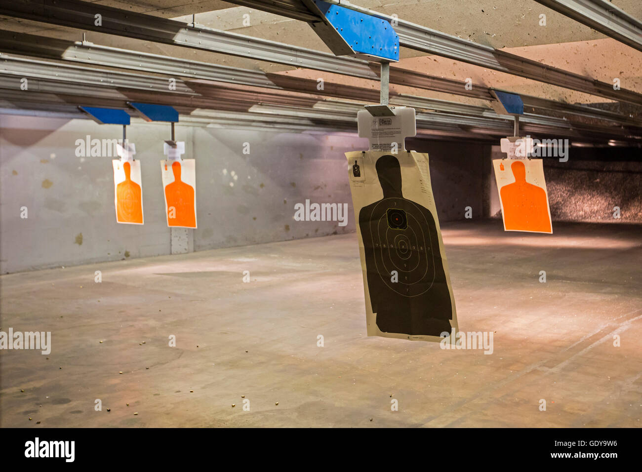 Las Vegas, Nevada - Ziele beim Discount Waffen + Munition Schießanlage. Stockbild