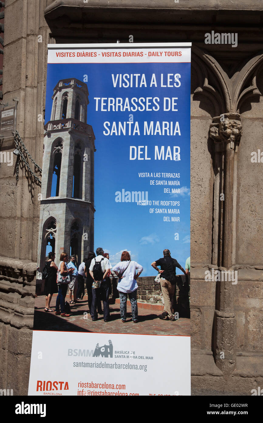 Basílica de Santa María del Mar unterzeichnen, Barcelona, Katalonien, Spanien. Stockbild
