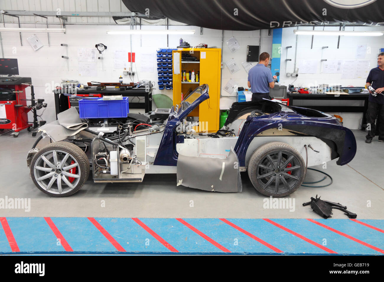 Morgan Aero 8 Sportwagen in Morgans Malvern Fabrik, England gebaut. Stockbild
