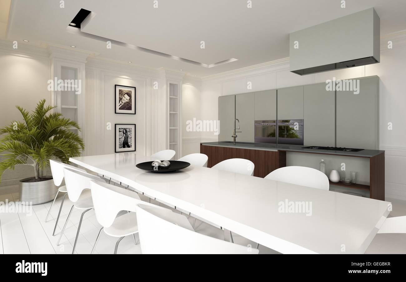 Moderne Luxus Offene Esszimmer Küche Wohnbereich Mit Montierten Einheiten  Und Geräten Und Eine Stilvolle Weiße Tisch Und Stühle Il