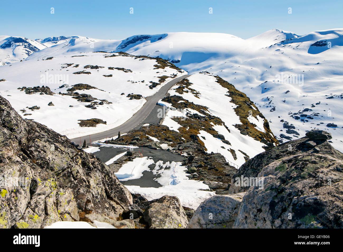 Weg zum Berg Dalsnibba, Norwegen Stockbild