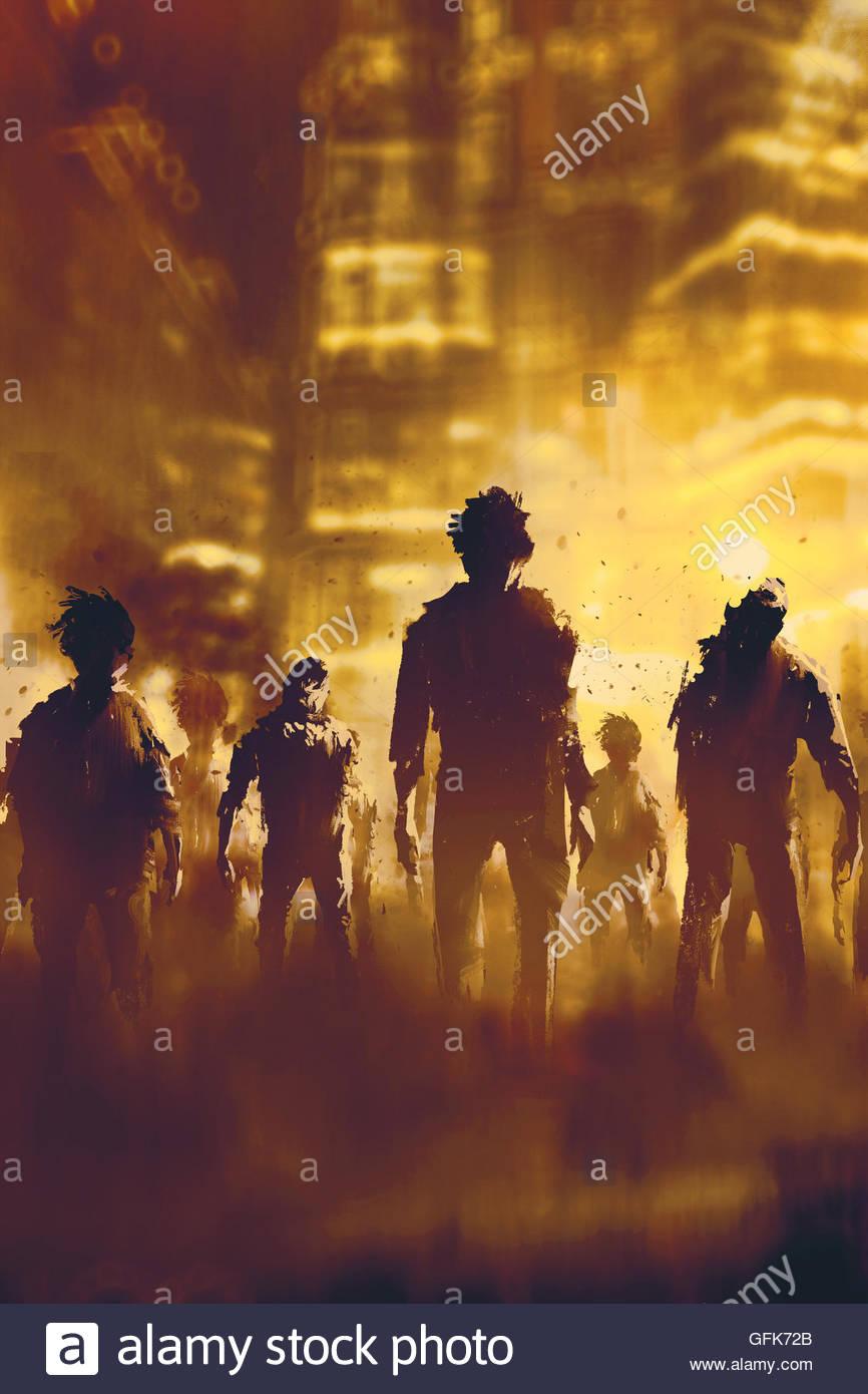 Zombie-Menge zu Fuß in die Stadt bei Nacht, Halloween-Konzept, Illustration, Malerei Stockfoto