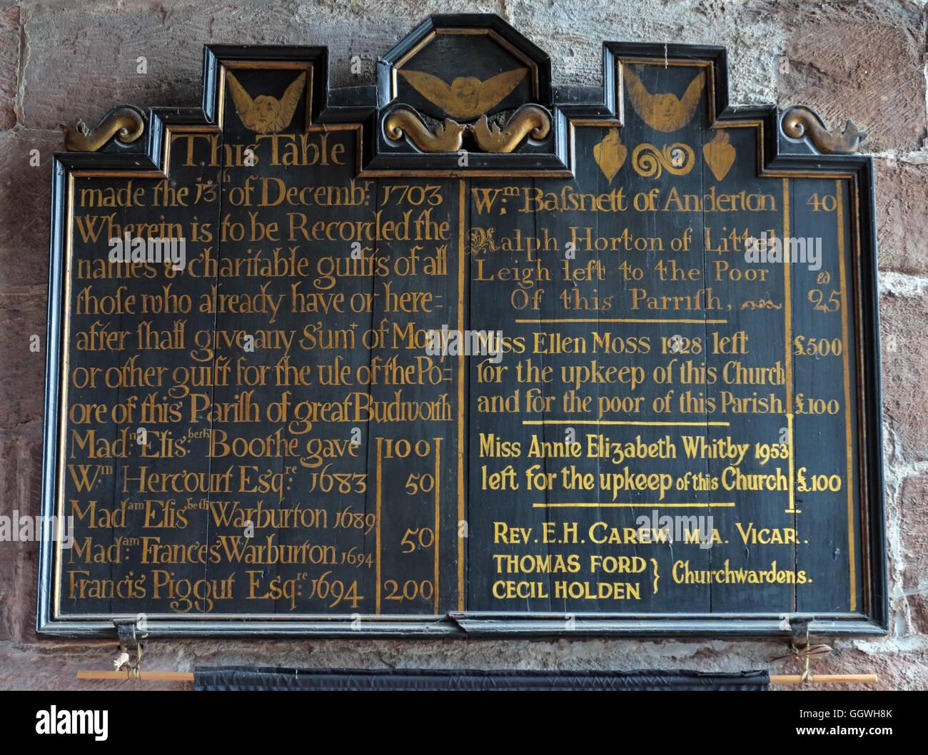 Laden Sie dieses Alamy Stockfoto St Marys & alle Heiligen Kirche Gt Budworth Interieur, Cheshire, England, UK-Charitable Geschenke board - GGWH8K
