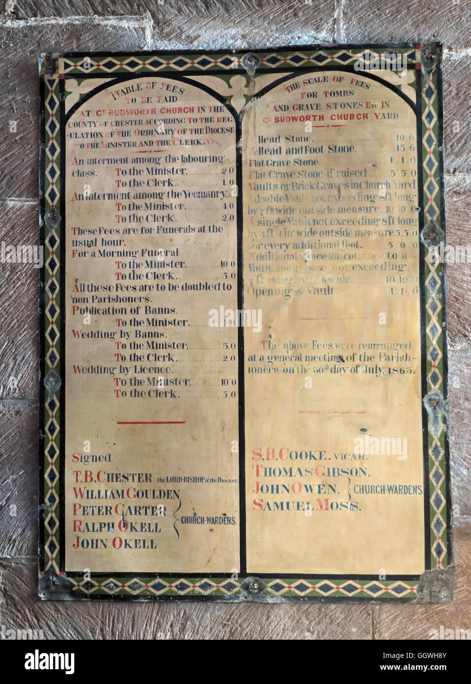 Laden Sie dieses Alamy Stockfoto St Marys & All Saints Church Gt Budworth Interieur, Cheshire, England, UK - Gebühren - GGWH8Y