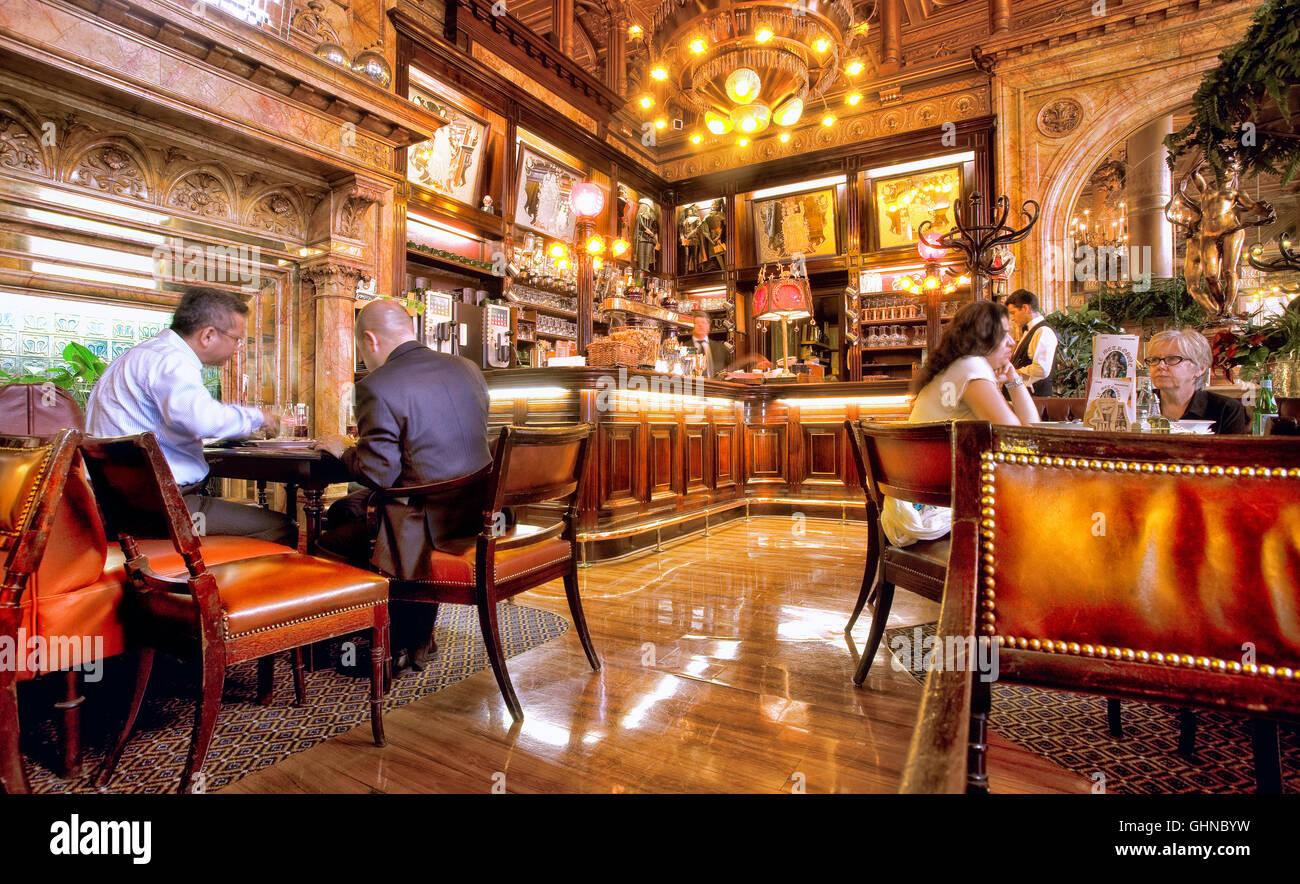 Restaurant des Hotel Metropole, setzen Sie de Broukhere, Brüssel, Belgien Stockbild