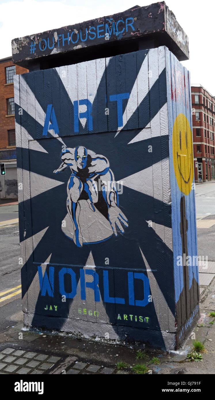 Laden Sie dieses Alamy Stockfoto Nördlichen Viertel Kunst in Stevenson Platz Manchester, UK - Wand Graffiti August2016 OUTHOUSEMCR - GJ791F