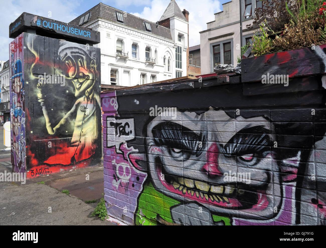 Laden Sie dieses Alamy Stockfoto Nördlichen Viertel Kunst in Stevenson Platz Manchester, UK - Wand Graffiti August2016 OUTHOUSEMCR - GJ791G