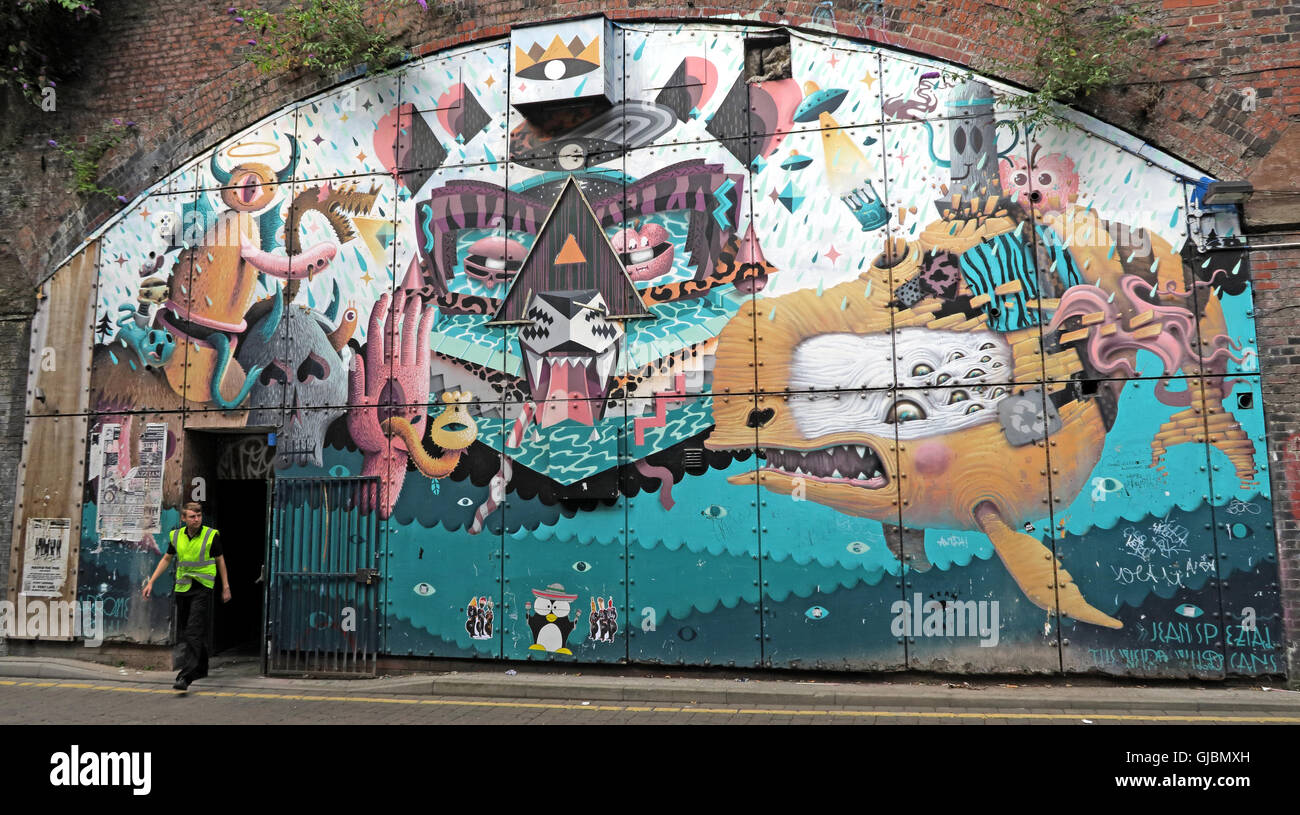 Laden Sie dieses Alamy Stockfoto Railway arches Kunst, neuer Wakefield St, unter Bahnhof Oxford Road, Manchester, North West England, Großbritannien - GJBMXH