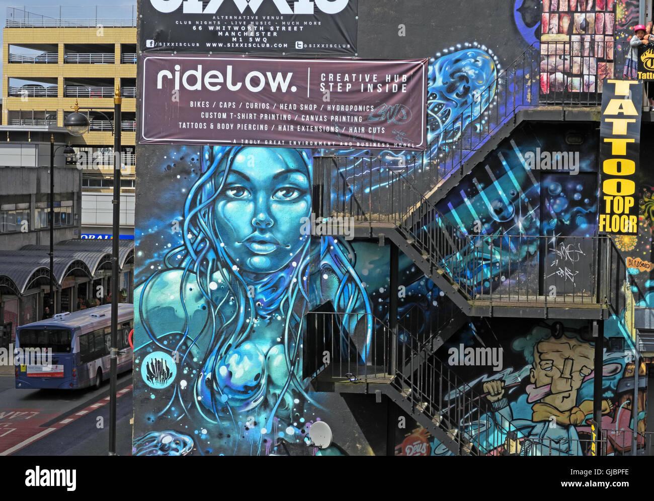 Laden Sie dieses Alamy Stockfoto Nördlichen Viertel Graffiti, Kirche St, Manchester, Lancashire, England, UK - GJBPFE