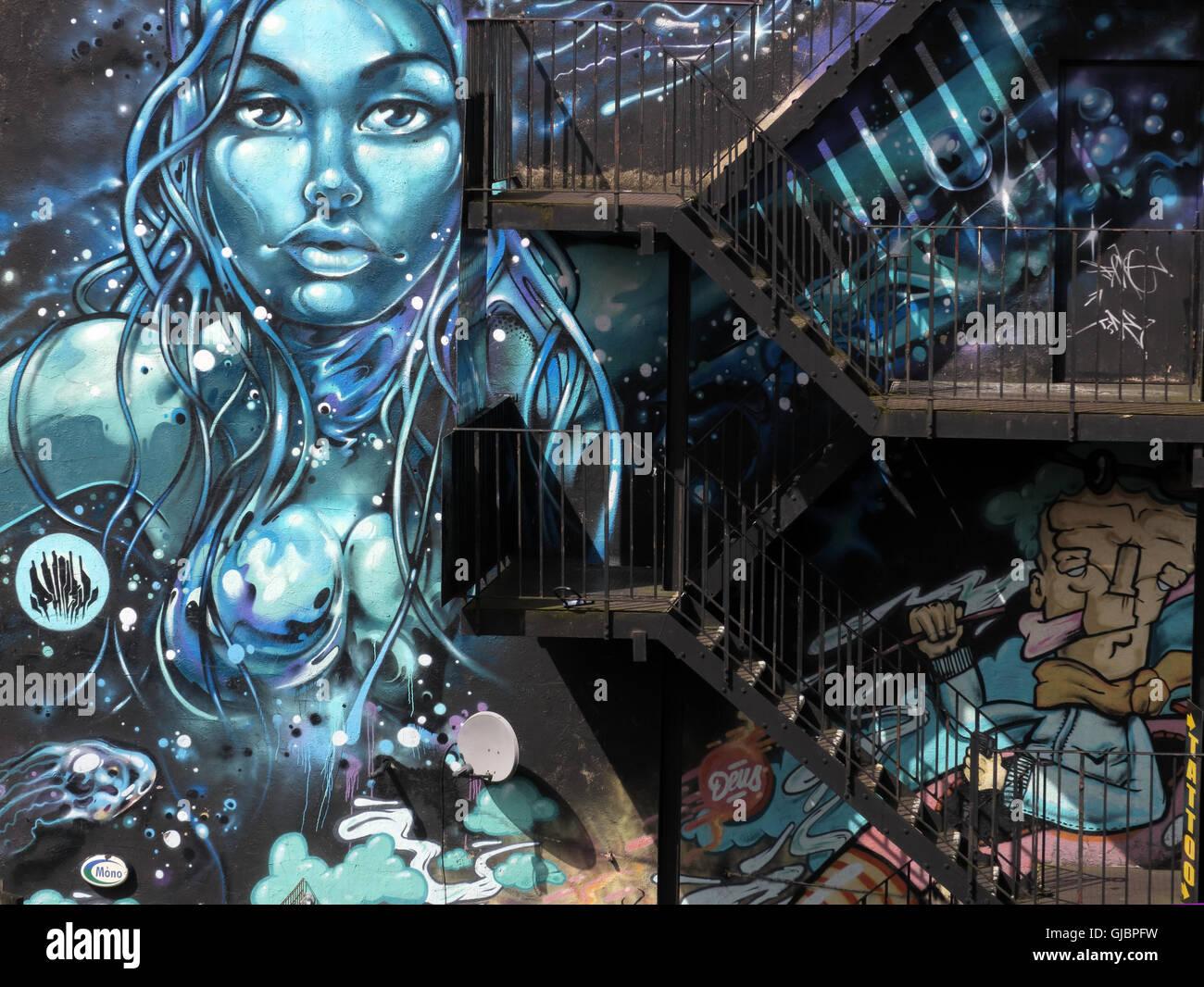 Laden Sie dieses Alamy Stockfoto Nördlichen Viertel Graffiti, Kirche St, Manchester, Lancashire, England, UK - GJBPFW