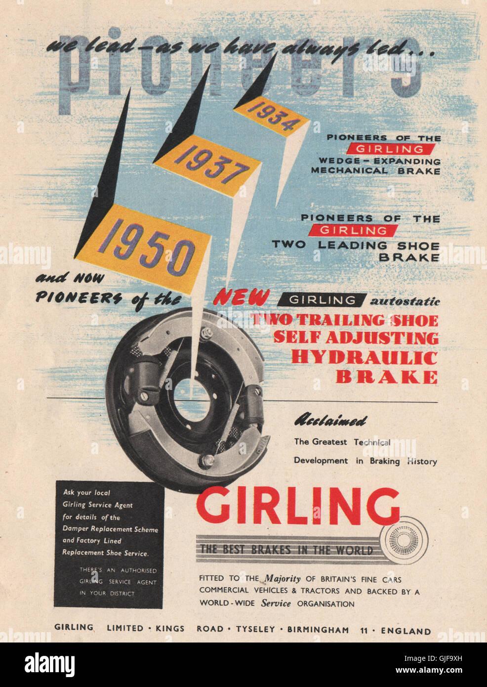 ENGINEERING-ANZEIGE. Girling, Ltd Bremsen. , Jahrgang 1951 drucken Stockbild