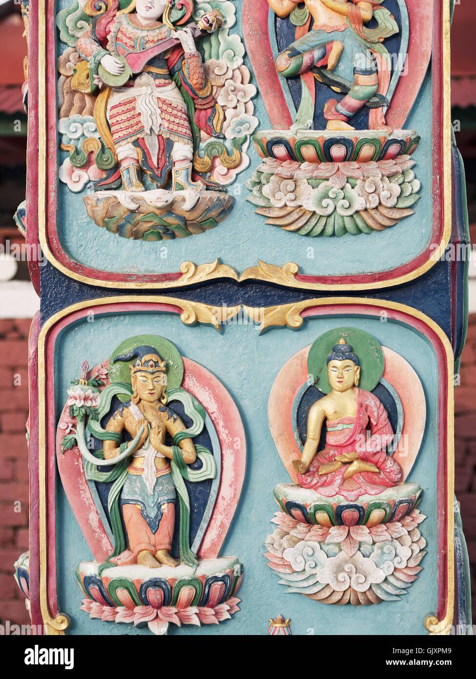 Vignette eines Schreins in einem Kloster in Tengboche, Nepal Stockbild