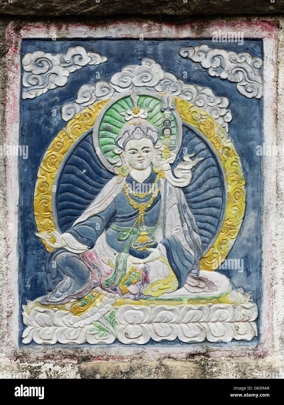 Eine Vignette eines Schreins in Lukla, Nepal Stockbild