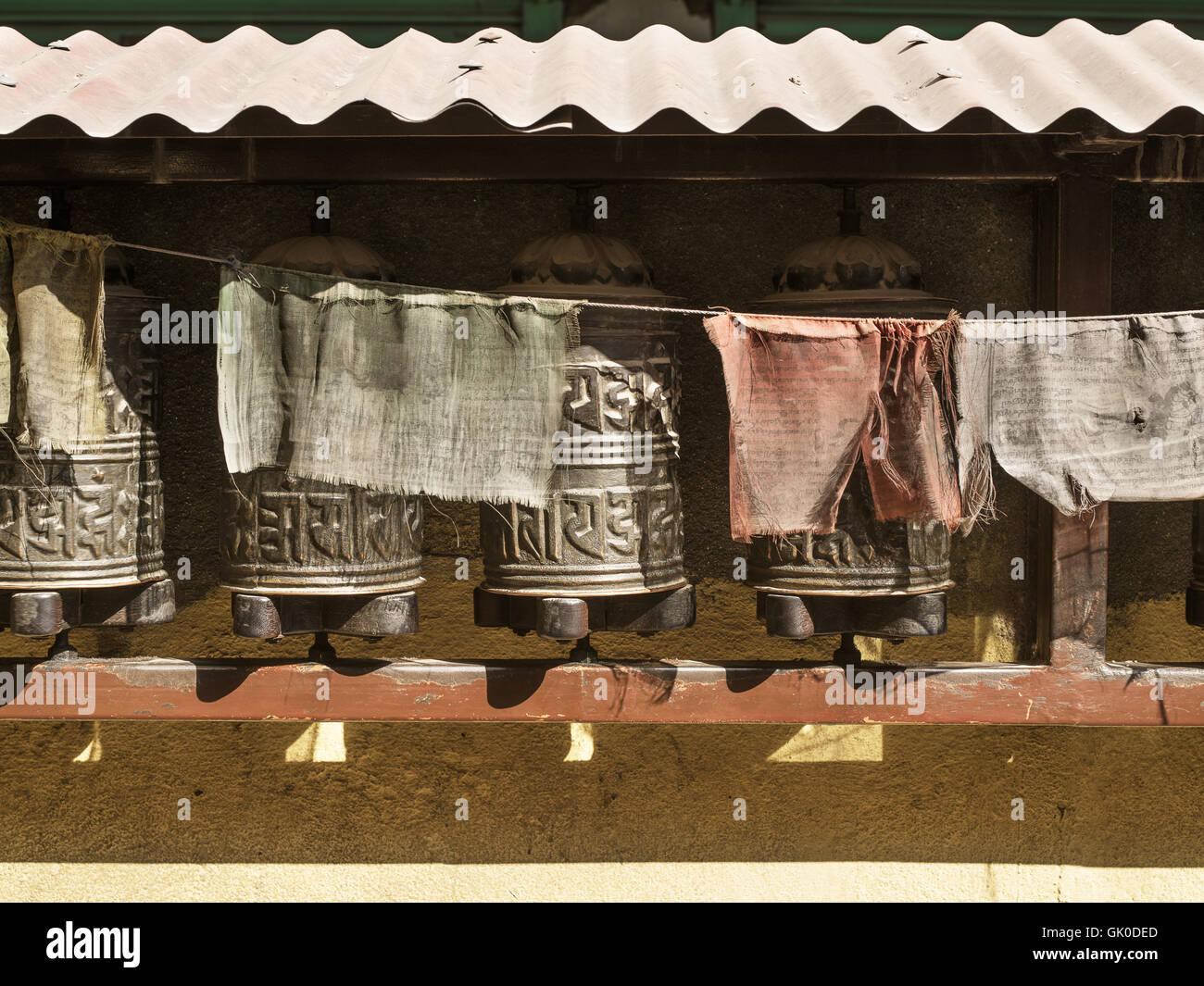 Boudhanath Stupa Gebetsmühlen und Flaggen Stockbild