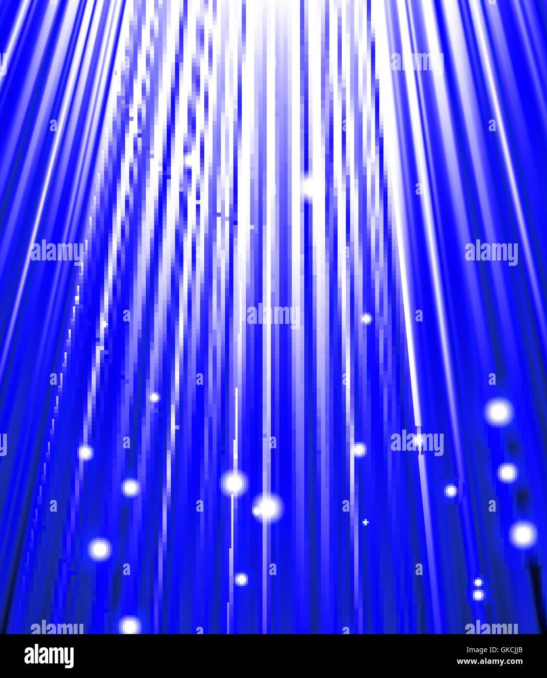 Sterne fallen auf dem Hintergrund des blauen Strahlen. Stockbild