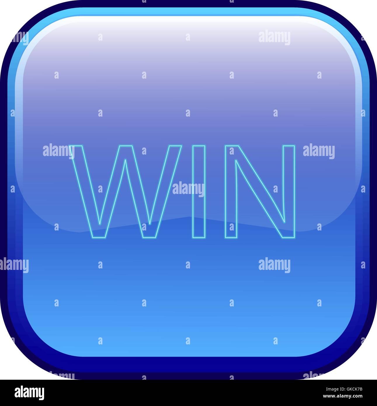 """Große blaue Schaltfläche mit der Bezeichnung """"gewinnen"""" Stockbild"""