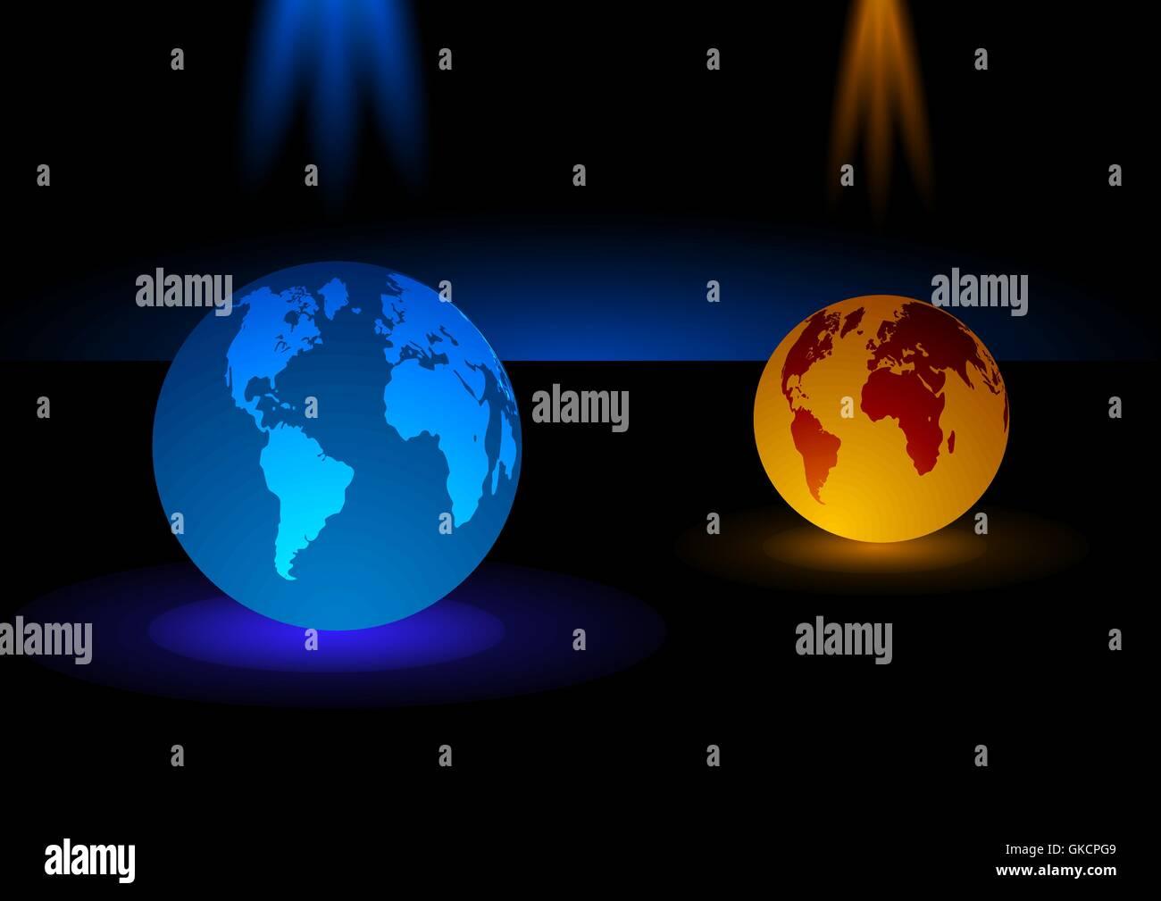 Moderne Glas-blau und Orange Kugel-Hintergrund, Vektor-illustration Stockbild