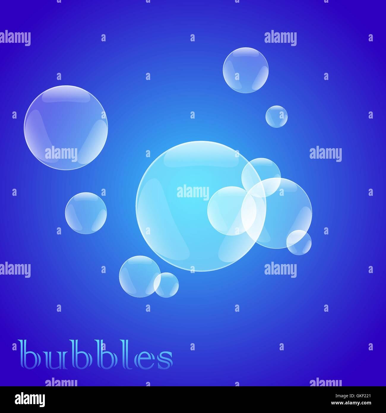 helle blaue Seifenblasen Stockbild