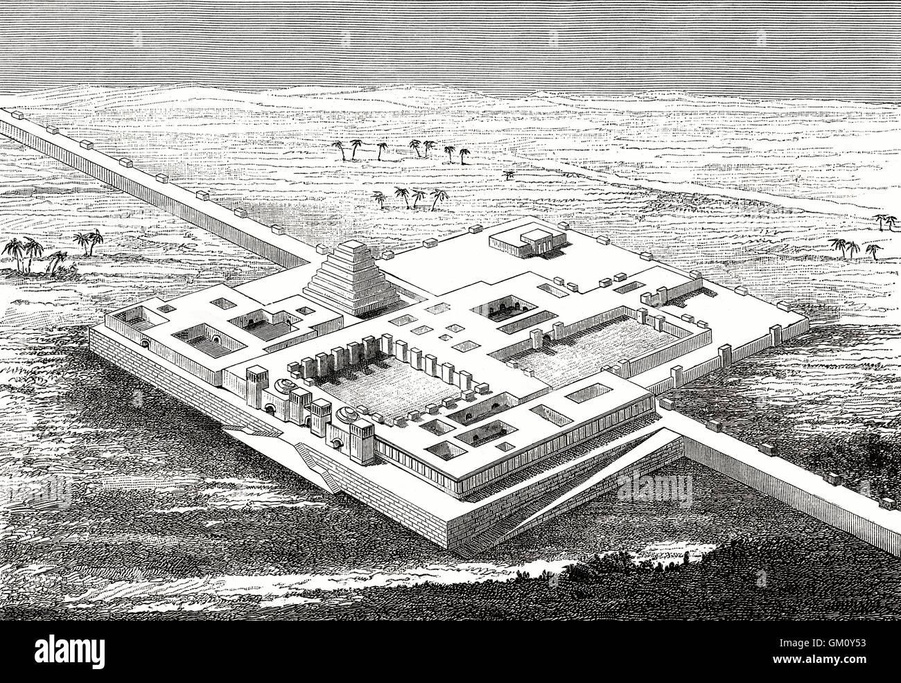 Rekonstruktion des North West Palast von Ashurnasirpal II, Assyrien, Irak Stockbild