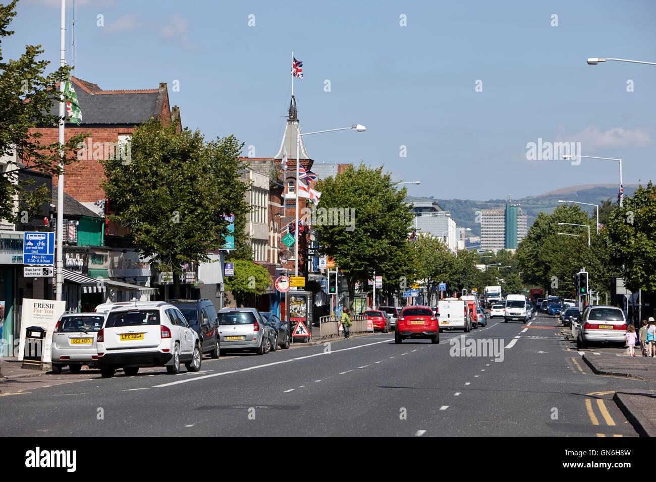Die oberen Ormeau Road Belfast am Ballynafeigh Stockbild