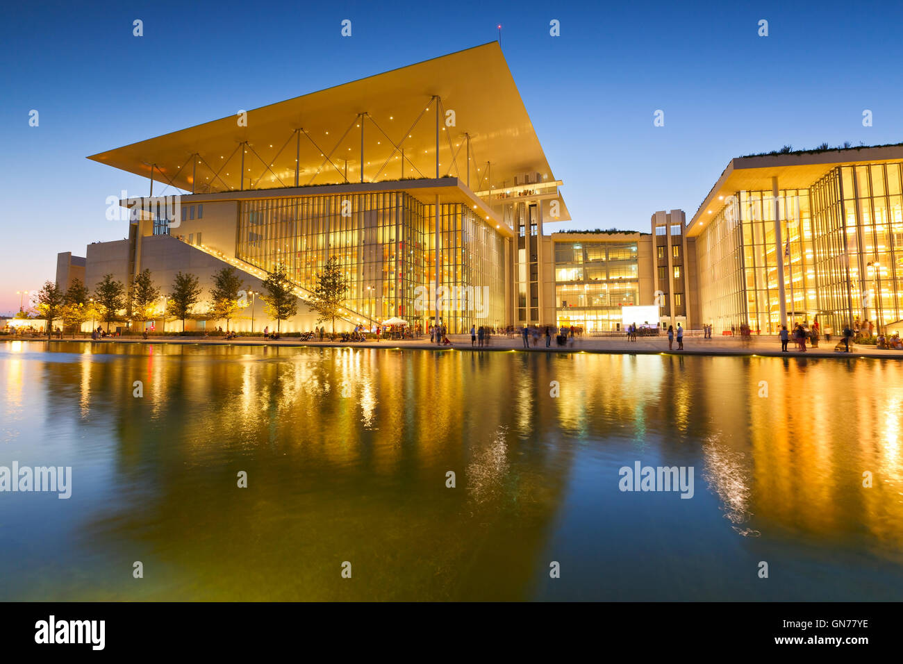 Ansicht von Stavros Niarchos Foundation Cultural Center in Athen. Stockbild