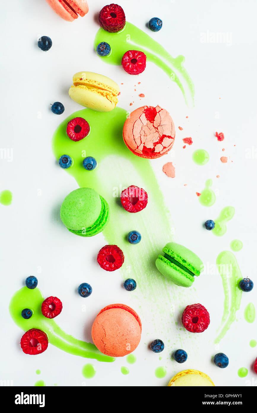 Kunst der Ernährungsgewohnheiten (mit Macarons und Kalk Zuckerguss) Stockbild