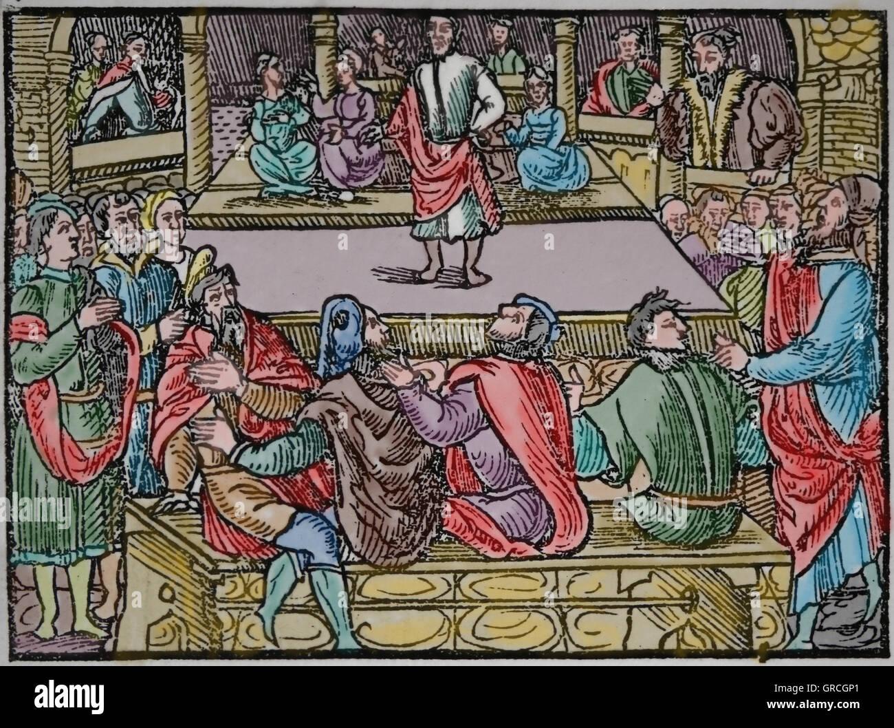 Lateinische Literatur. Theateraufführung in Frankreich (16. Jahrhundert) Antike zu imitieren. Farbige Gravur. Stockbild