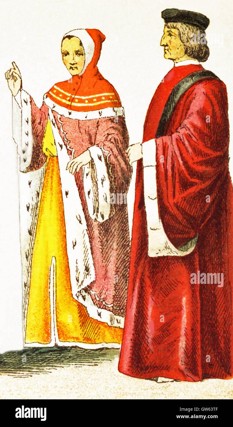 Die italienischen Figuren vertreten hier Datum bis 1400 n. Chr.. Sie sind von links nach rechts: ein Florentiner Stockbild