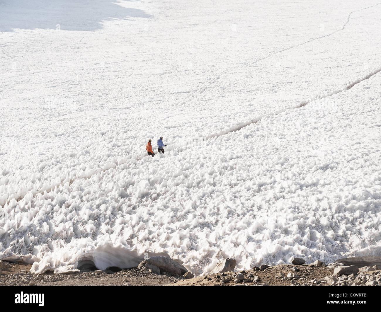 Wanderer-Reise durch Schnee beim trekking, Mt. Rainier Stockbild