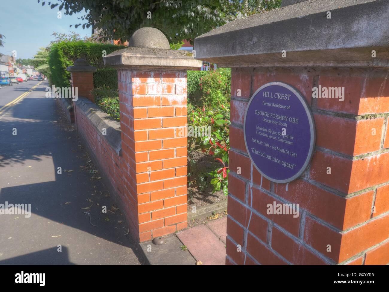 Laden Sie dieses Alamy Stockfoto Hill, Crest, Wohnsitz von George Formby OBE, Stockton Heide, Warrington, Cheshire, England - GXYYR5