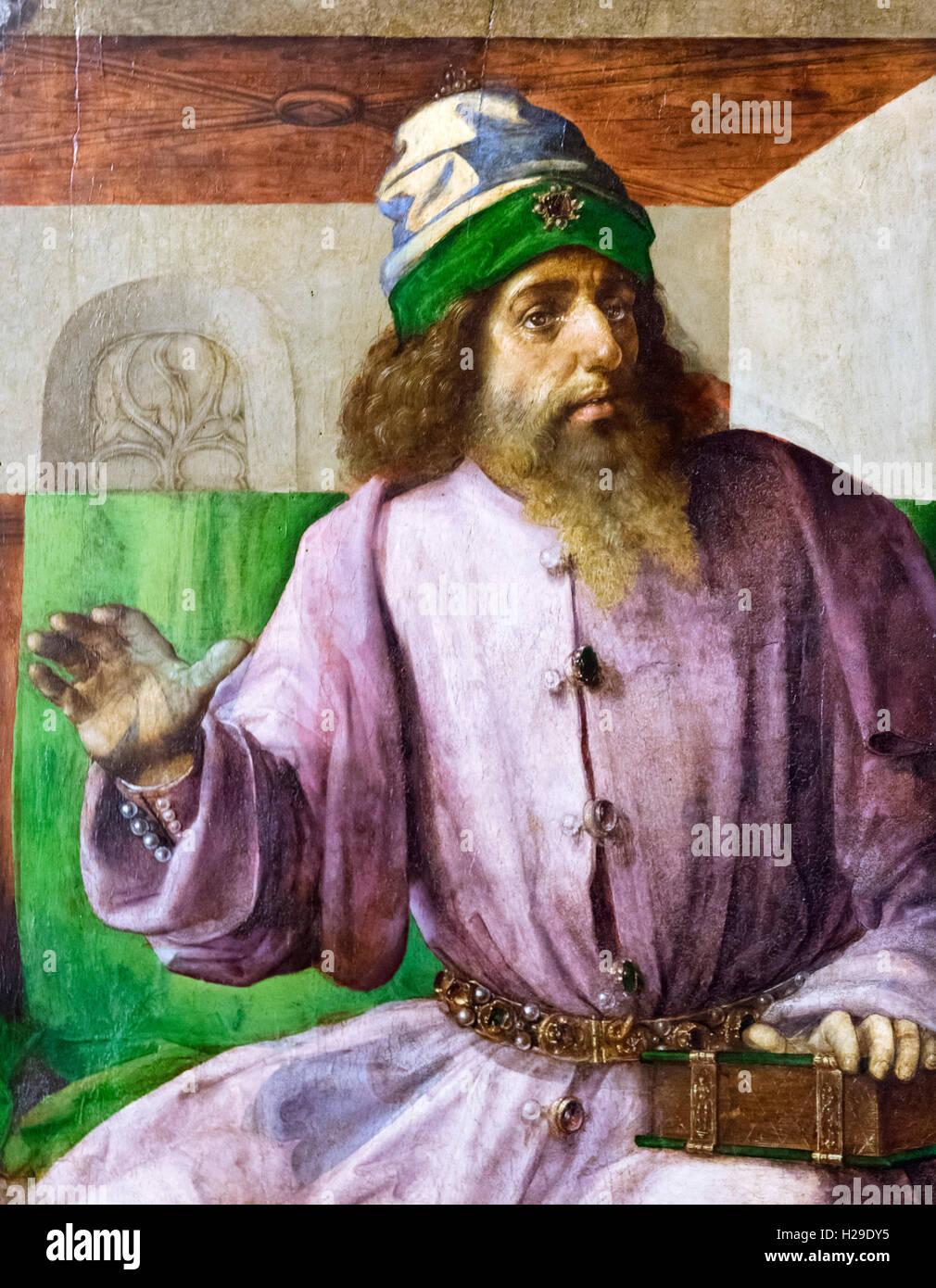 Der Antike griechische Philosoph Aristoteles (384-322 v. Chr.), ein 15.Jh. Gemälde aus der Palazzo Ducale, Stockbild