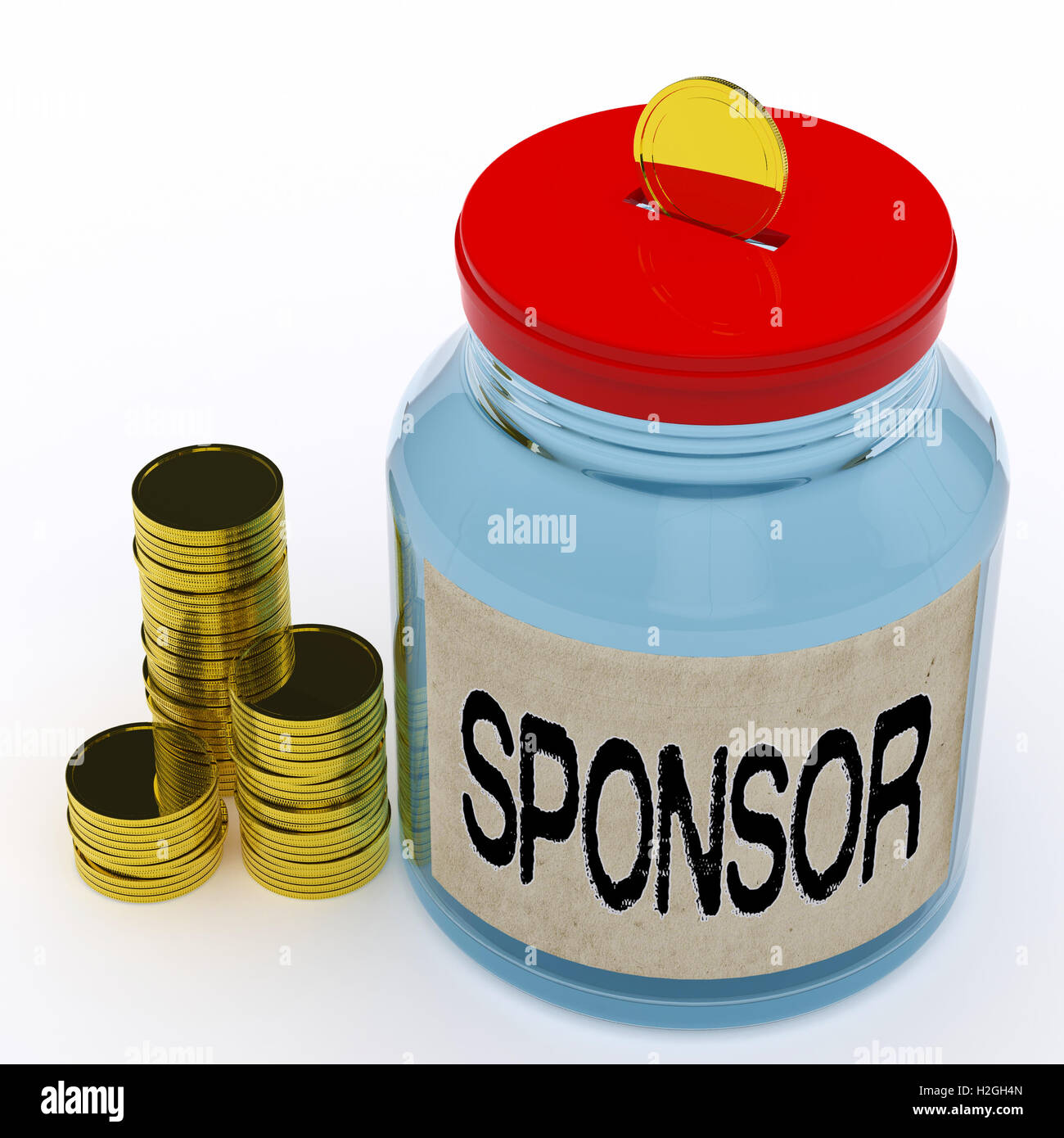 Sponsor Jar Mittel Spenden helfen und Hilfe Stockbild