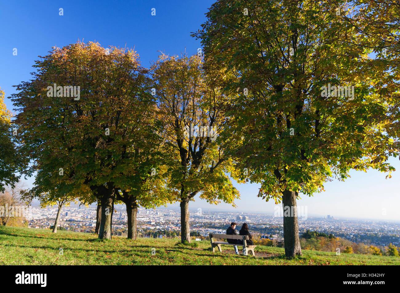 """Wien, Wien: Blick auf Wien vom Hügel """"Himmel"""", 00., Wien, Österreich Stockbild"""