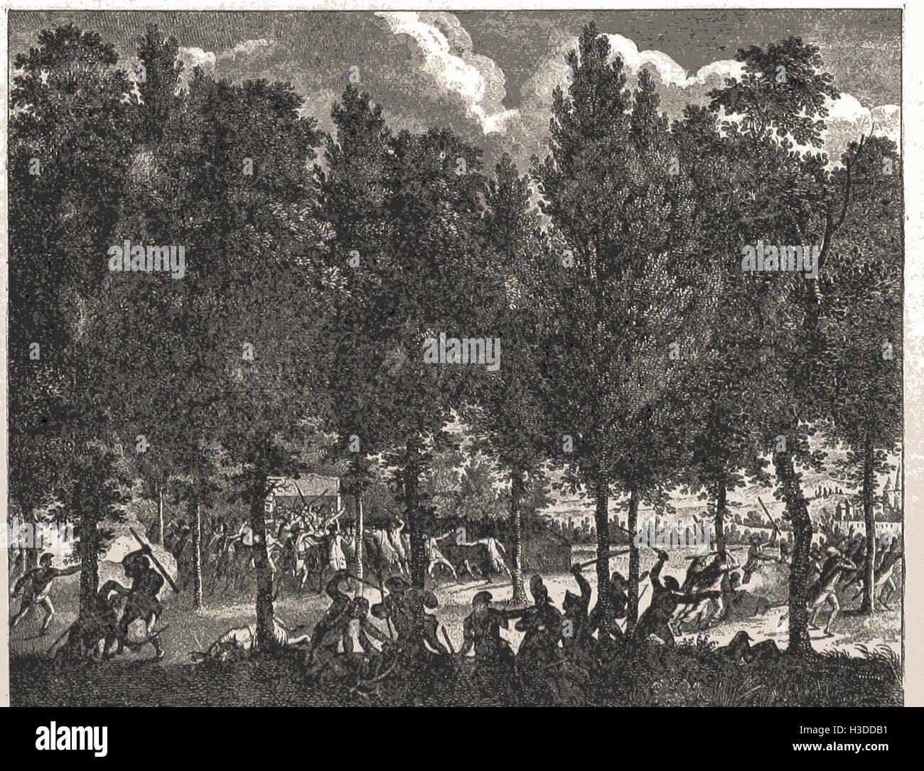 KONFLIKT ZWISCHEN DER NATIONALGARDE UND DER MARSELLAISE. AUGUST 1792 Stockbild