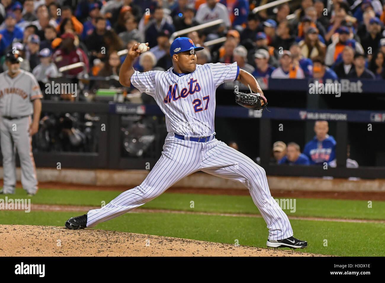 Flushing, New York, USA. 5. Oktober 2016. Jeurys Familia (Mets) MLB: Jeurys Familia der New York Mets Stellplätze Stockfoto