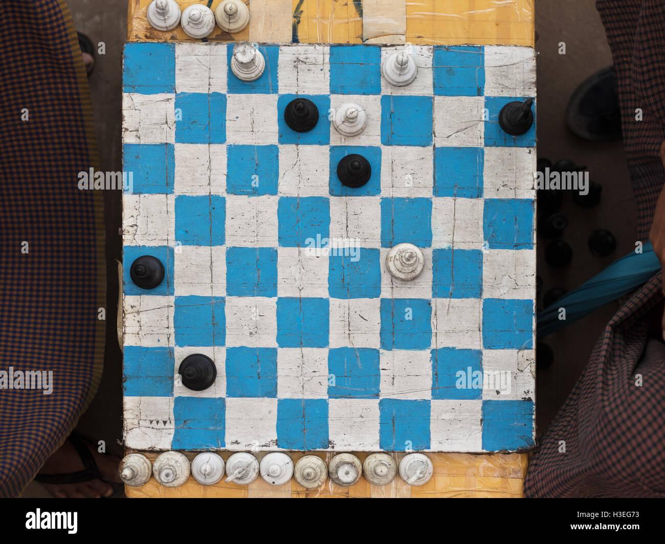 Schach in Yangon, Myanmar (Burma) Stockbild