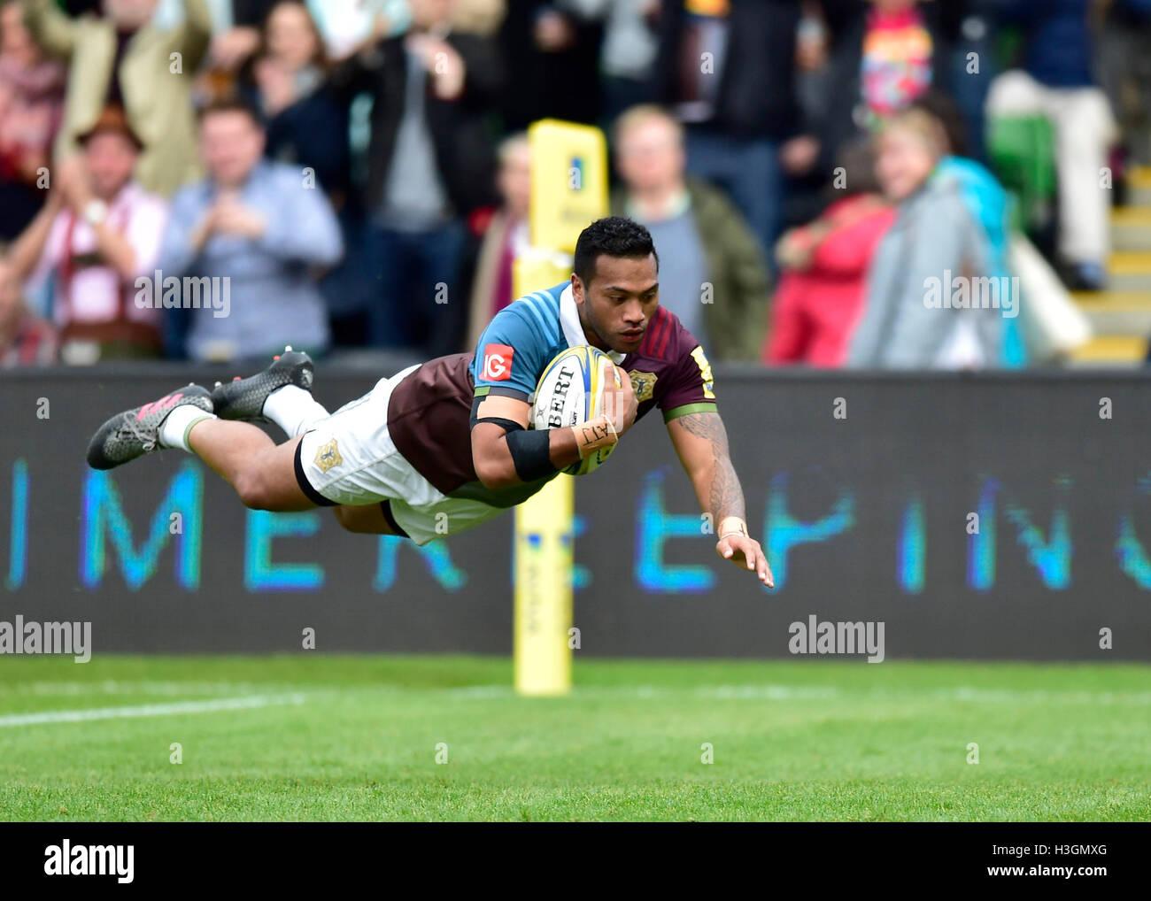 London, UK. 8. Oktober 2016.  Alofa Alofa des Harlequins erzielte einen Versuch bei Aviva Premiership Rugby-Spiel Stockfoto