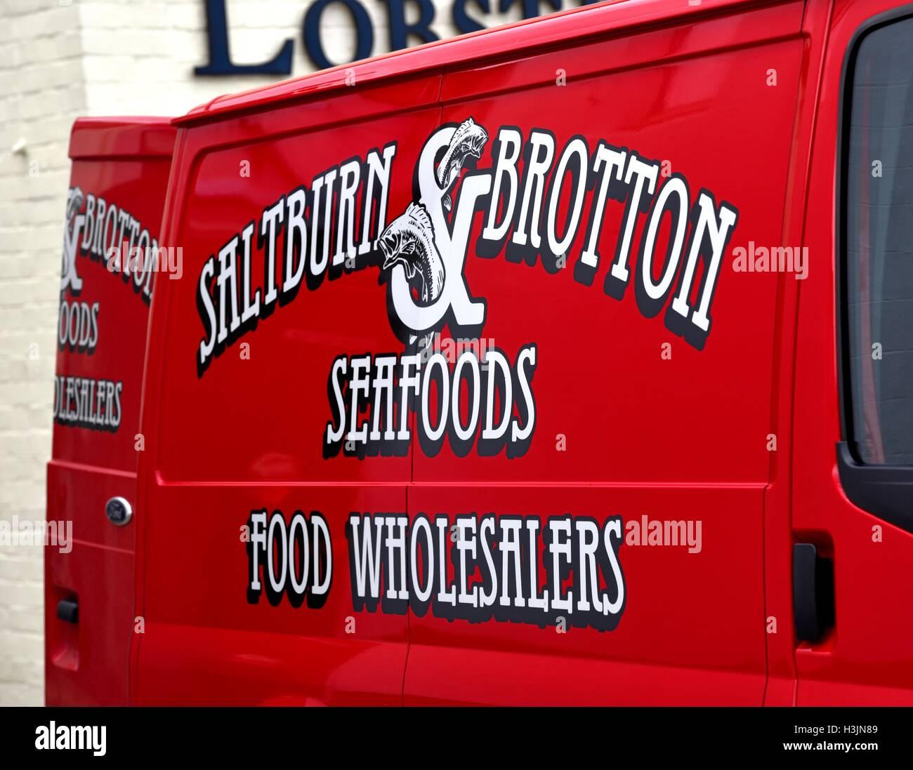 Meeresfrüchte-Lieferwagen. Stockbild