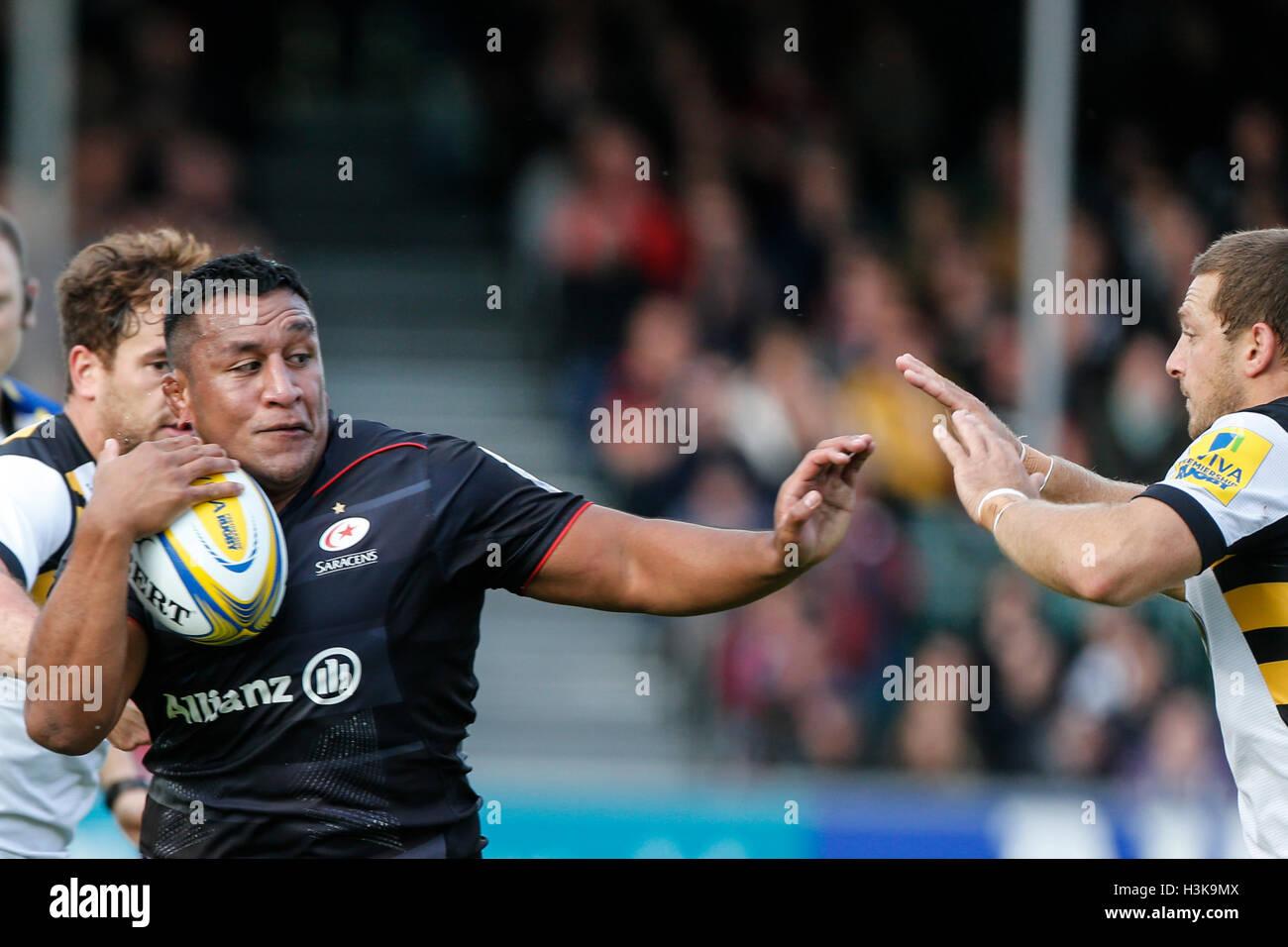 Barnet Copthall, London, UK. 9. Oktober 2016. Aviva Premiership Rugby. Sarazenen gegen Wespen. Mako Vunipola der Stockfoto