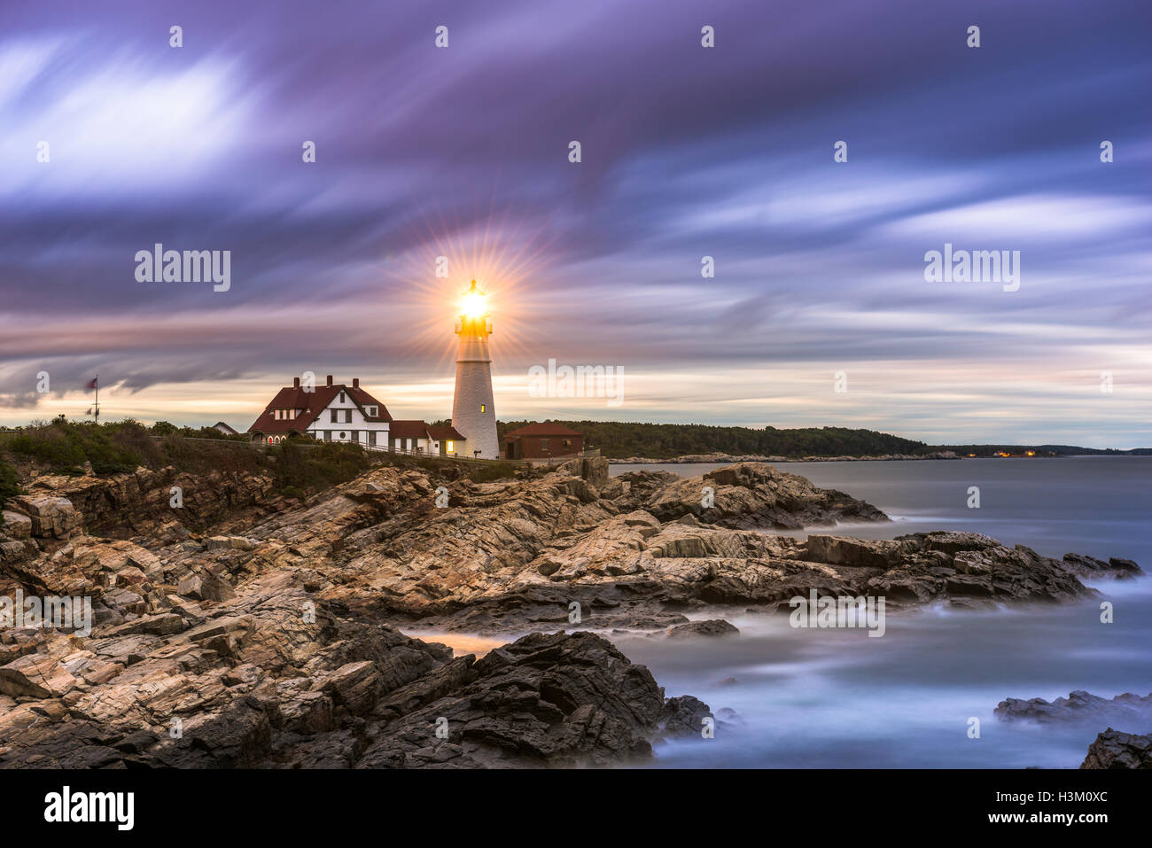 Portland Head Light in Cape Elizabeth, Maine, USA. Stockbild