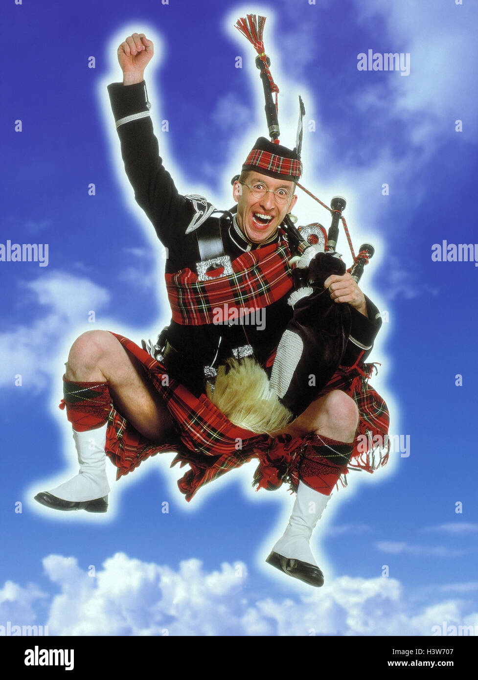 Schotten, Kilt, Dudelsack, Kapern, Geste, Begeisterung, bewölkten Himmel Studio, Mann, Tracht, Kleidung, traditionell, Stockbild