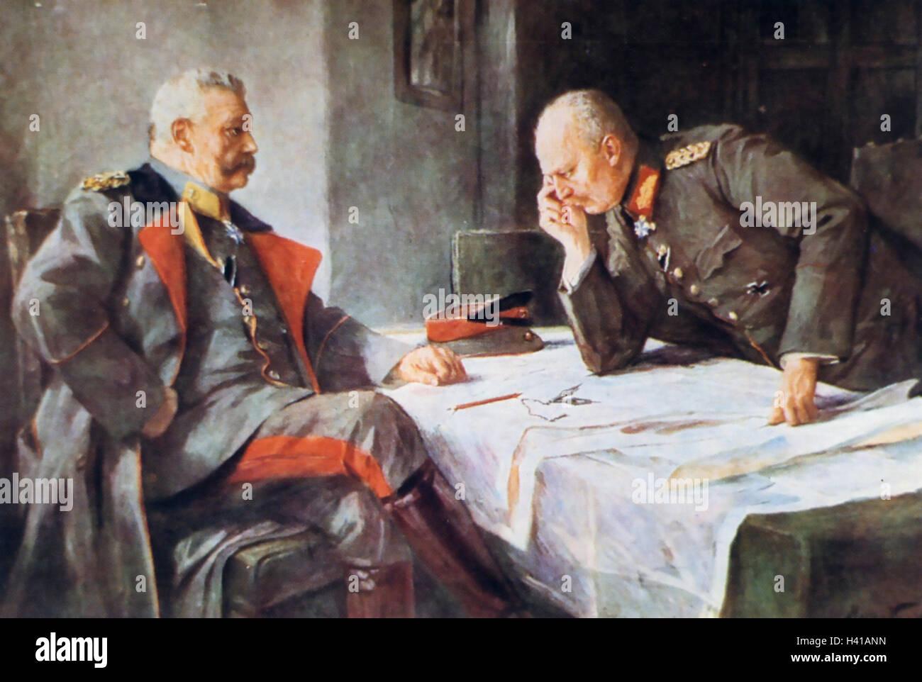PAUL von HINDENBERG (1847-1934) deutschen Befehlshaber im ersten Weltkrieg auf der linken Seite mit seinem Generalstabschef Stockbild