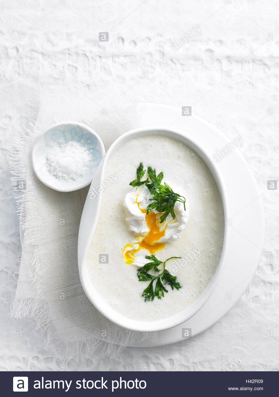 Platte, Navettensuppe, von oben, Essen, Essen, Suppe, Teller, Schale, Hors-d ' Oeuvre, Suppe, Ei, Petersilie, Stockbild