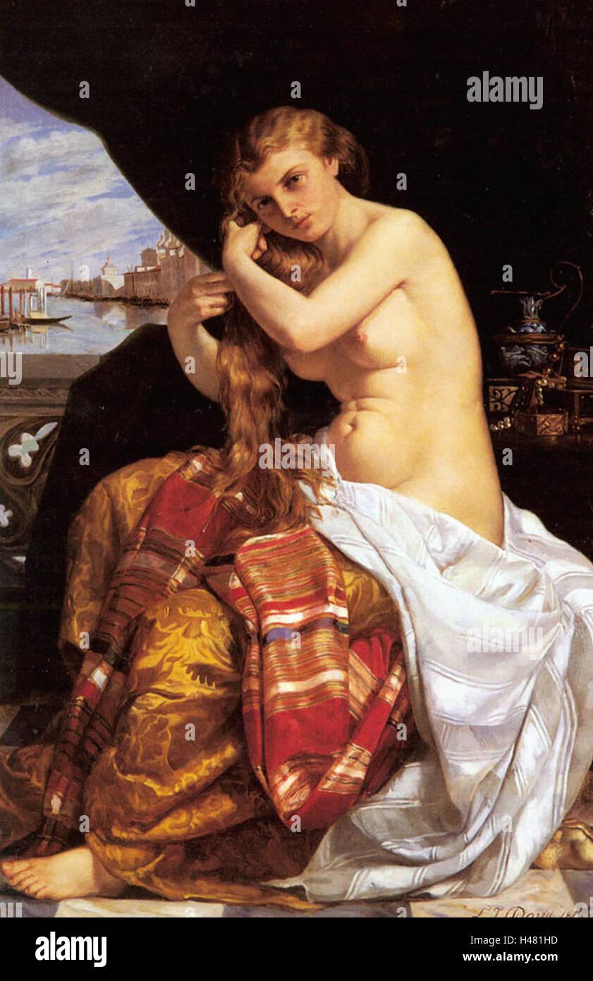 Jacques-Louis David-venezianischen Dame an ihre Toilette Stockbild