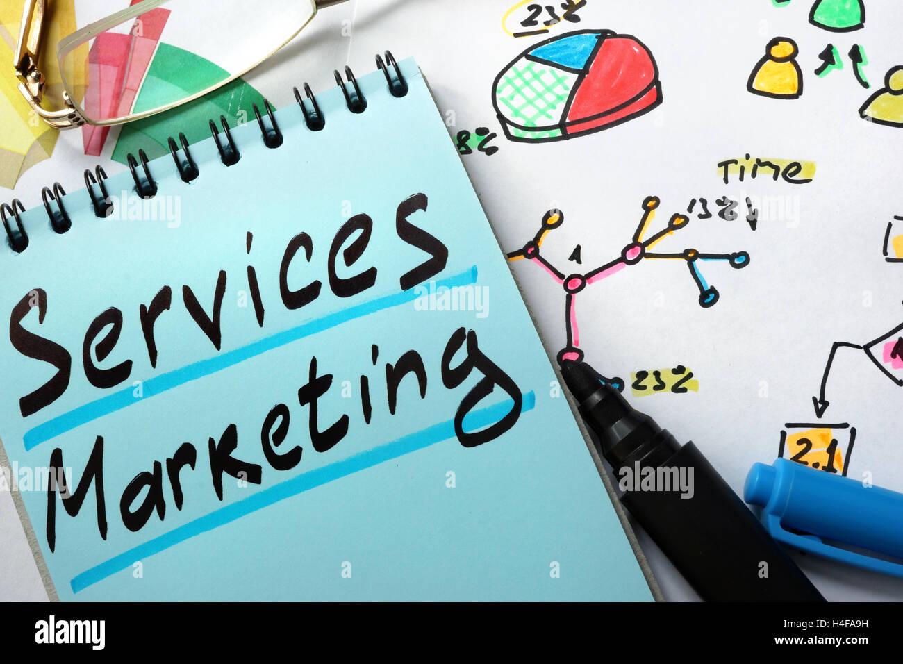Notizblock mit Zeichen Dienstleistungen marketing auf einen Tisch. Stockbild
