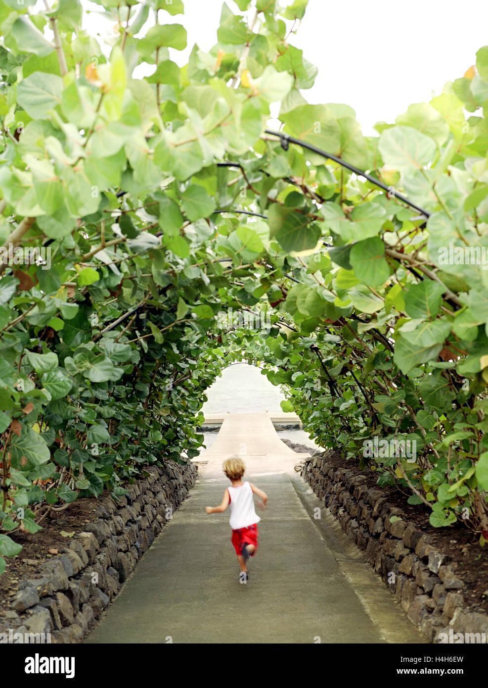 Ein kleiner Junge durchzieht ein Garten Spalier gegenüber einem Dock im Cap Est Lagoon Resort & Spa. Cap Stockbild
