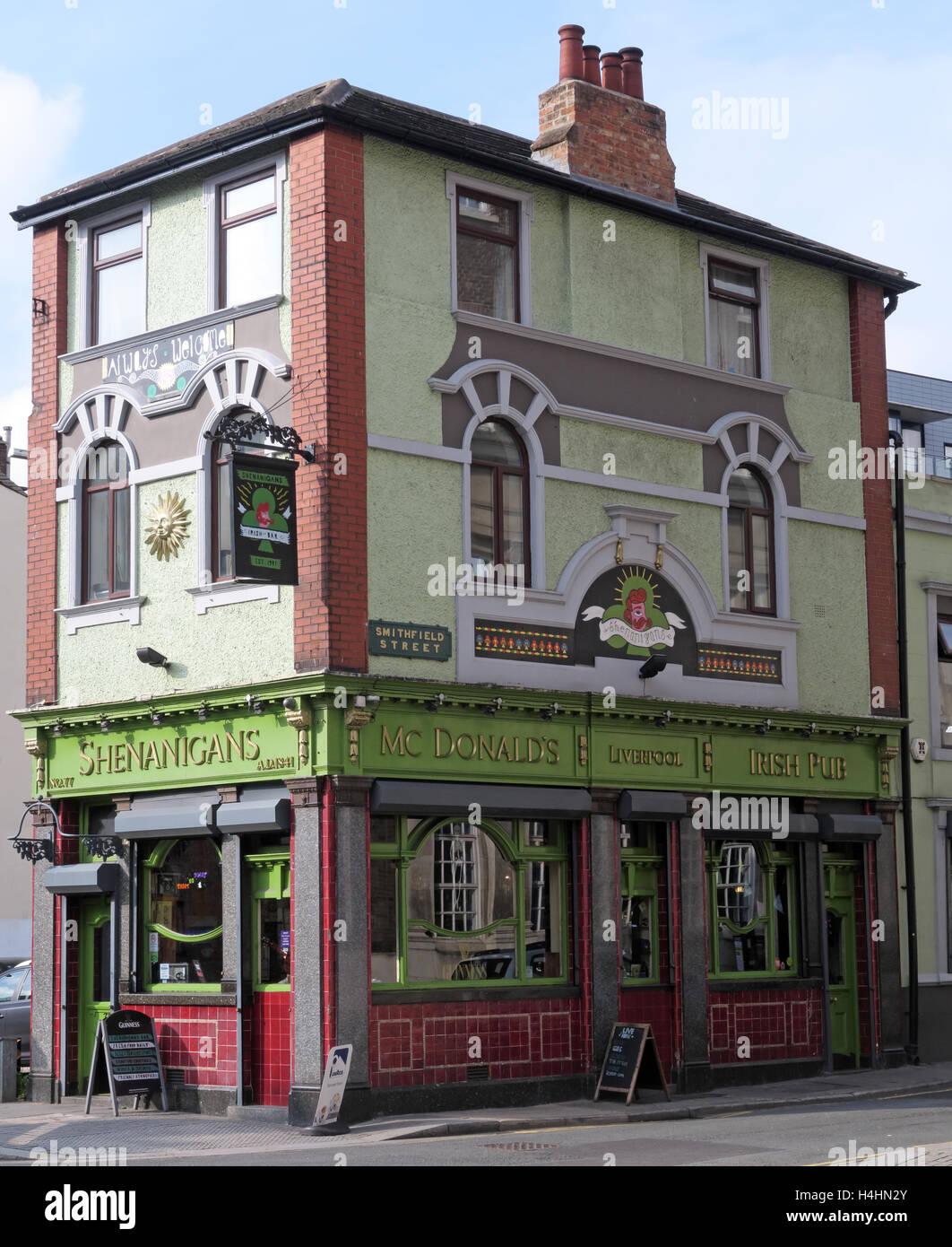 Laden Sie dieses Alamy Stockfoto Shenanigans Pub, McDonalds Bierstube, Smithfield St, Liverpool, Merseyside, Großbritannien - H4HN2Y